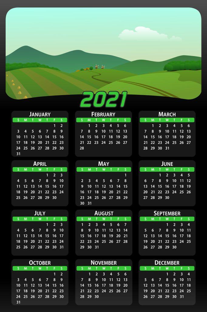 calendar, date, 2021