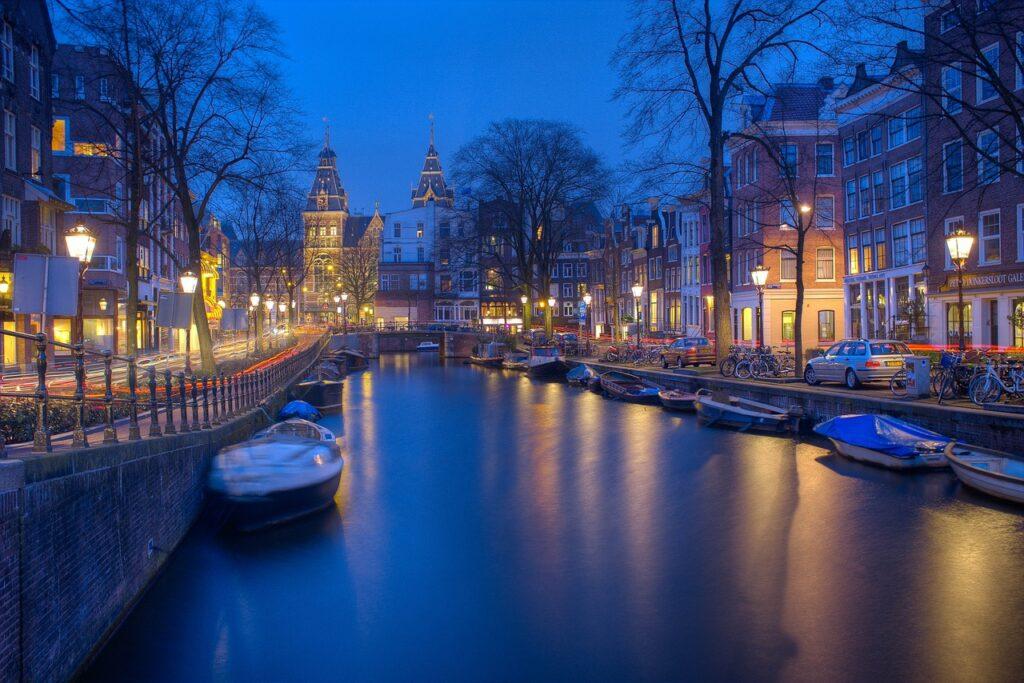 amsterdam, night, canal