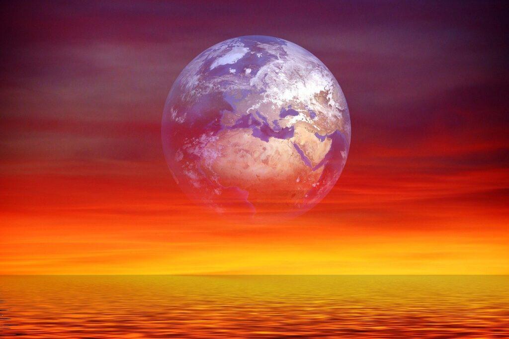 earth, globe, sunset